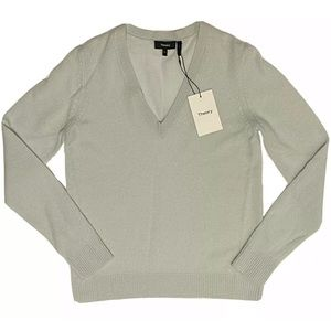 THEORY Womens Cashmere Knitted V Neck Sweater